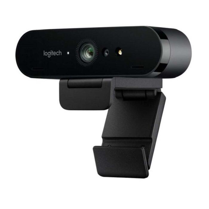 Webcam Logitech Brio 4K vista lateral con micrófono onmidireccional y puerto infrarrojos