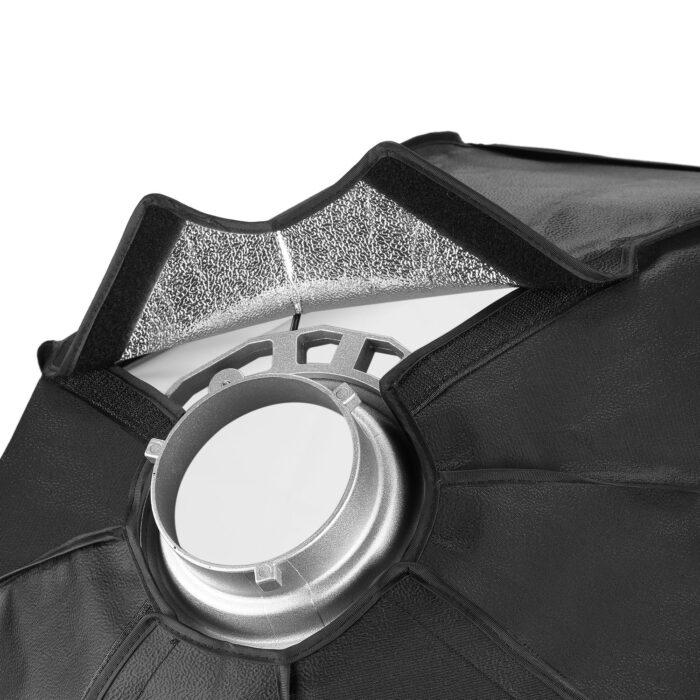 Neewer Speedlite Octagonal Softbox detalle del cierre con el plegado