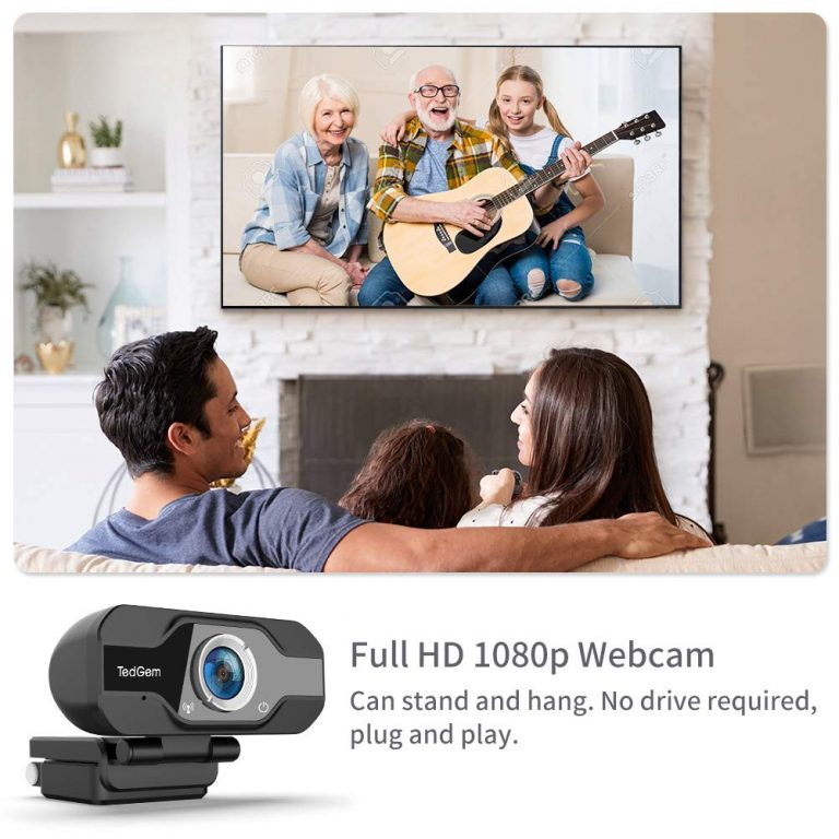 Webcam TedGem USB con resolució 1080P que no necesita drivers