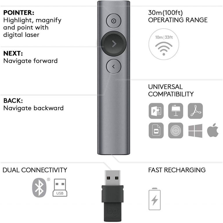 Control Remoto Inalámbrico Logitech Spotlight - características técnicas