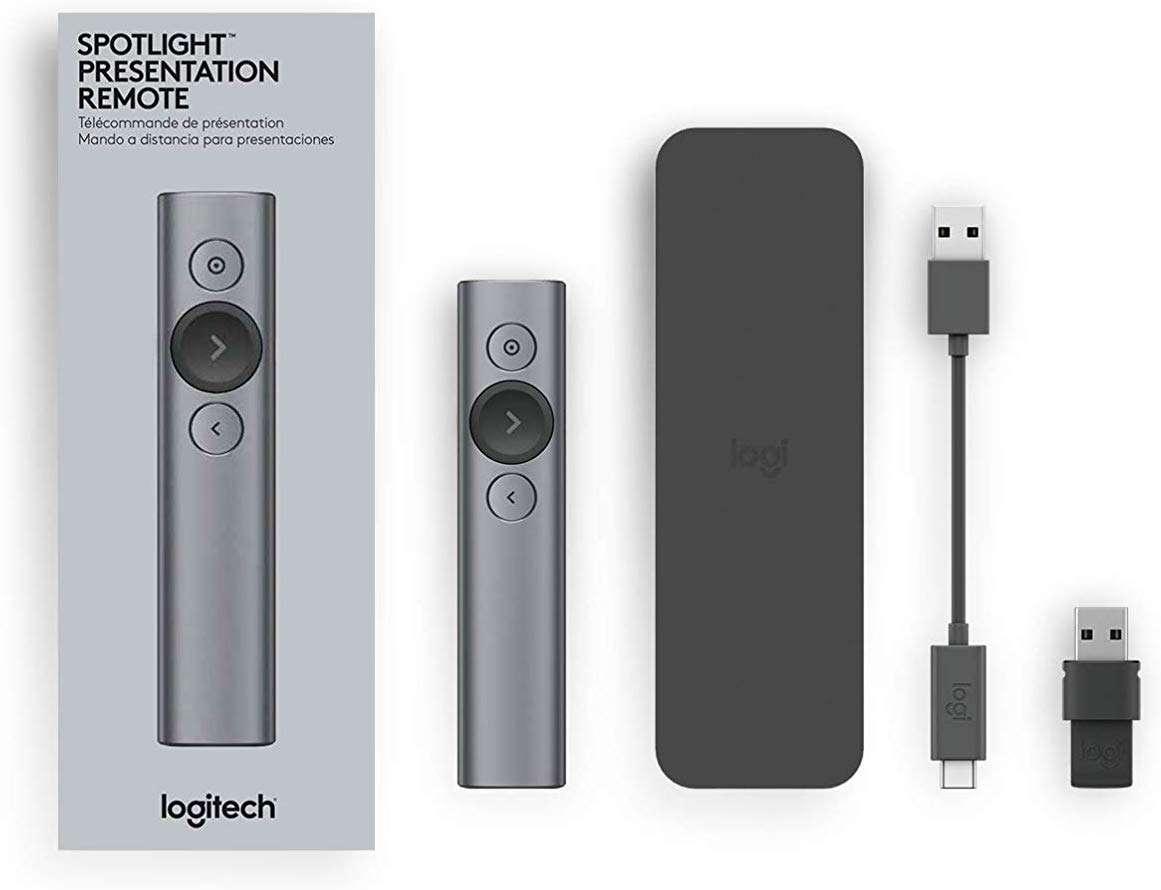 Control Remoto Inalámbrico Logitech Spotlight - contenido de la caja