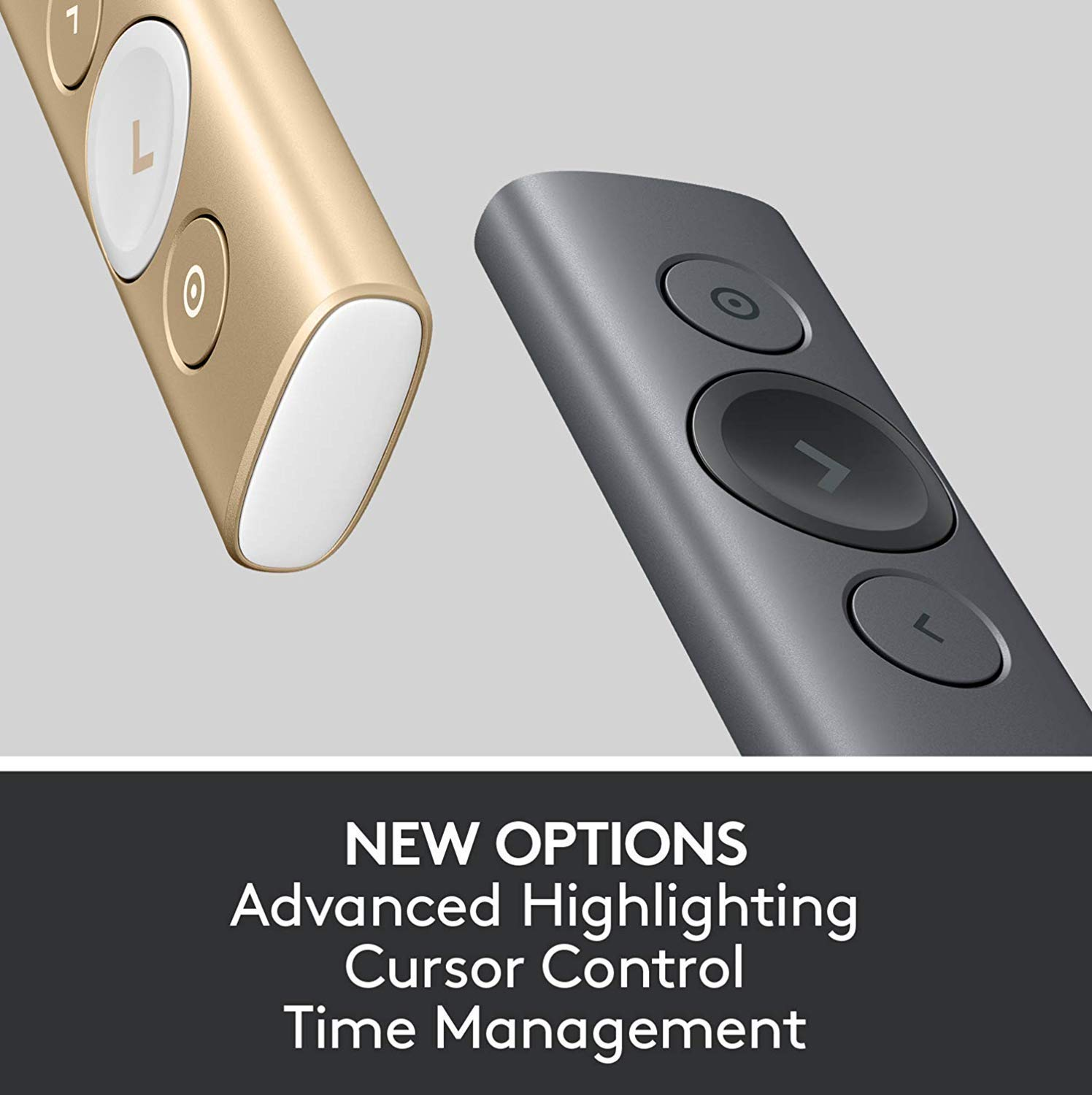 Control Remoto Inalámbrico Logitech Spotlight - disponible en color oro y gris