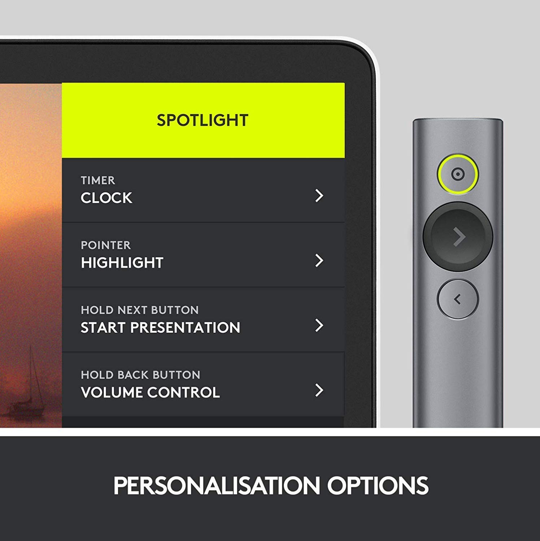 Control Remoto Inalámbrico Logitech Spotlight - opciones de presentación por software