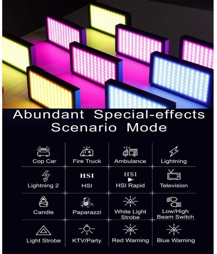 Falcon Eyes F7 RGB LED Video Light - Abundantes efectos especiales y modos de escenario