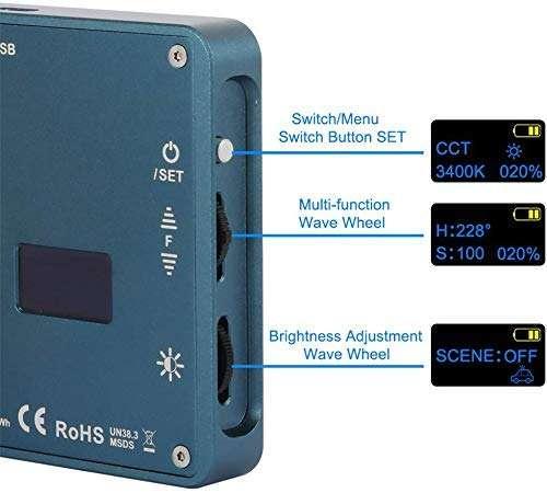 Falcon Eyes F7 RGB LED Video Light - interruptores y conmutadores de encendido, apagado, brillo y multifunción
